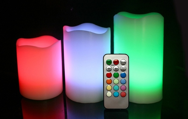 Pack de 3 velas led multicolor con mando descuento 61 - Velas led con mando ...